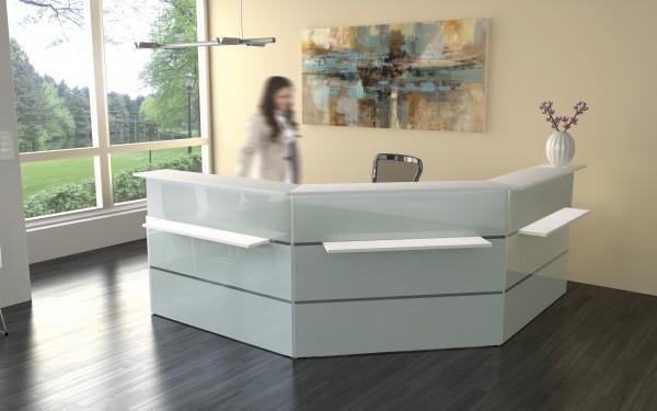 Empfangstheke Kerkmann Atlantis Weiß Glas 250x250cm komplett