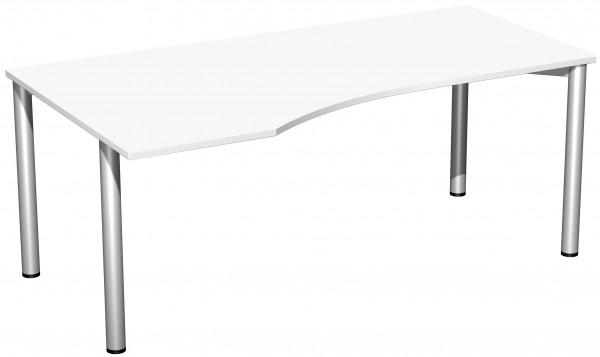 PC-Schreibtisch links 180 x 100 cm Weiß / Silber