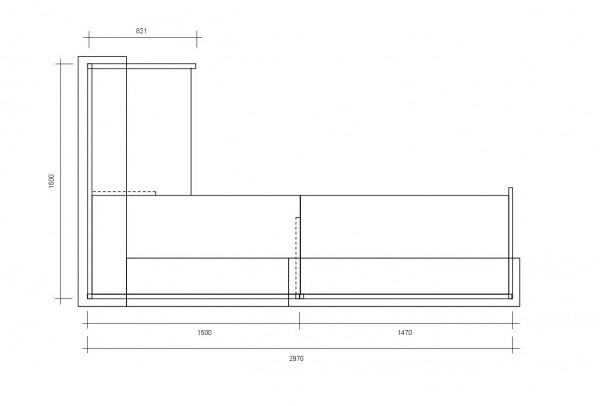 Empfangstresen ECKIG / Frostgrün / Buche / 297x110x150 cm