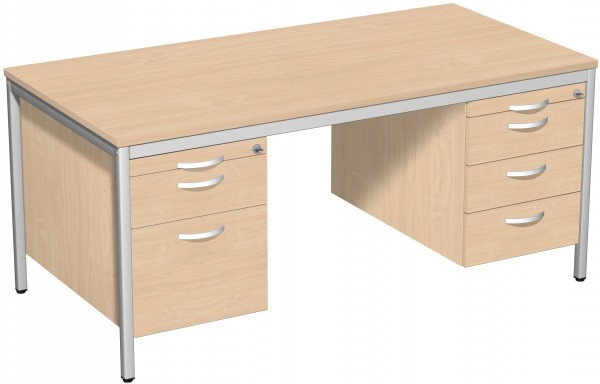 Schreibtisch mit 2 Hängecontainern, 160x80cm, Buche / Lichtgrau