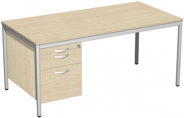 Schreibtisch mit Hängecontainer, 160x80cm, Ahorn Lichtgrau