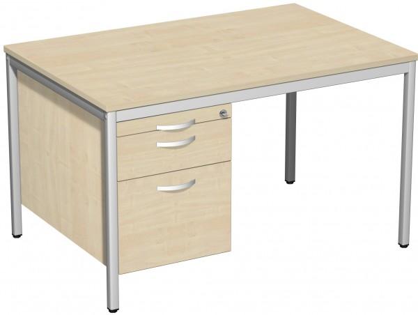 Schreibtisch mit Hängecontainer, 120x80cm, Ahorn / Lichtgrau