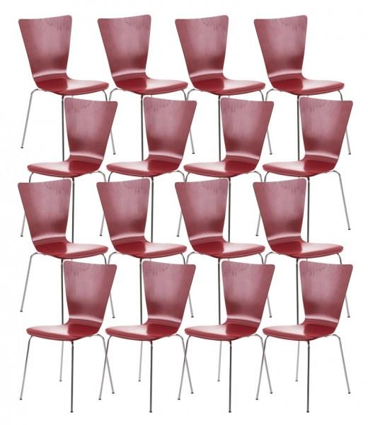 16er Set Besucherstuhl Aaron, rot