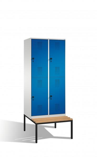 Doppelstockspind Evolo mit Sitzbank, 4 Fächer, 209x80x50/81cm