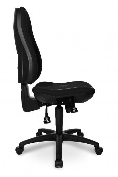 Drehstuhl Pro, stufenlos höhenverstellbare Sicherheitsgasfeder, Stoffbezug Schwarz