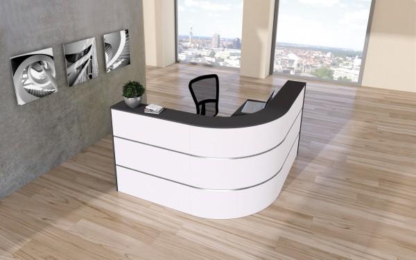 Design Theke Cento 2a, 260x80cm Weiß Anthrazit