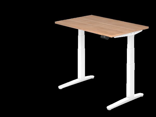 Sitz-Steh-Schreibtisch elektrisch 120 x 80 cm Nussbaum / Weiß
