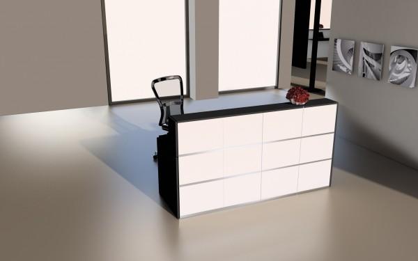 Design Empfangstheke Rezeptionstheke Cento 2m Weiß Anthrazit