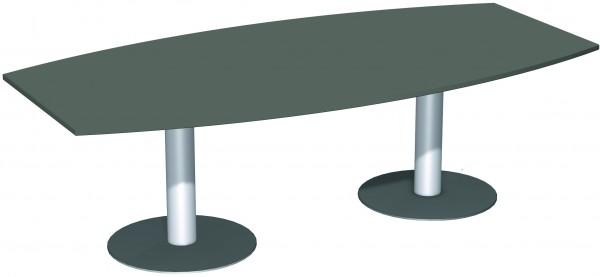 Konferenztisch Tellerfuß Faßform 240 x 80-120 cm