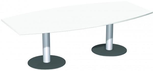 Konferenztisch Tellerfuß, Faßform, 240x80-120cm, Weiß