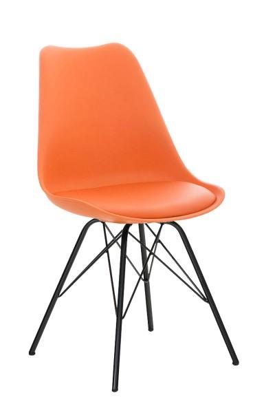 Besucherstuhl Pegleg, Metall schwarz, orange