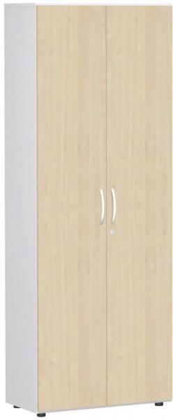 Garderobenschrank mit ausziehbarem Garderobenhalter, 80x42x216cm, Ahorn Weiß
