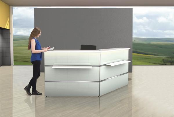 Empfangstresen Winkel Atlantis Weiß Glas inkl. LED & Rollcontainer