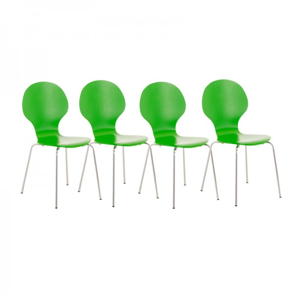 4er Set Besucherstuhl Diego, grün