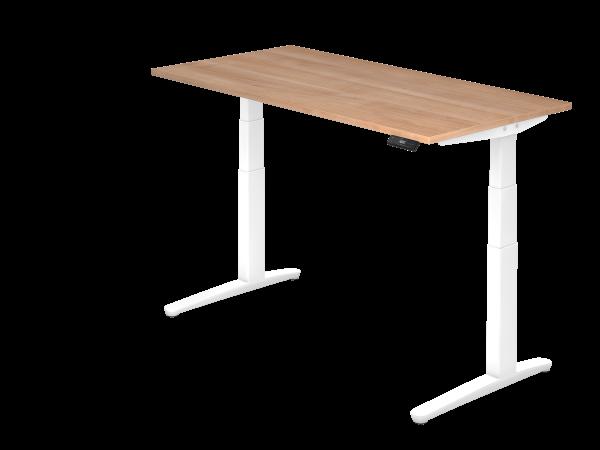 Sitz-Steh-Schreibtisch elektrisch 160 x 80 cm Nussbaum / Weiß