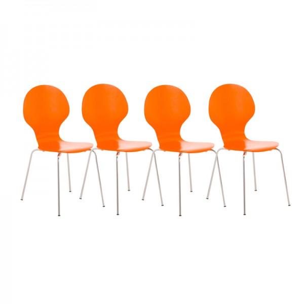 4er Set Besucherstuhl Diego, orange