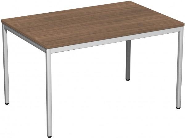 Konferenztisch Viereckfuß, 120x80cm, Nussbaum / Lichtgrau