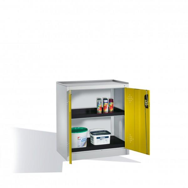 Umwelt-Beistellschrank mit Drehtüren, 2 Polyethylen-Wannen, H1020xB93x50cm