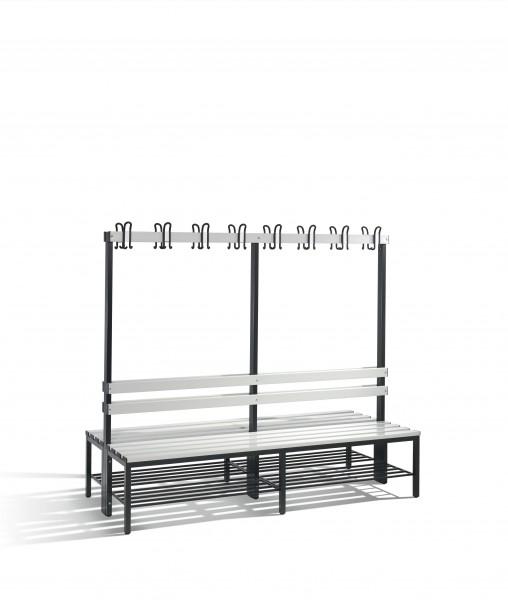 Doppelseitige Garderobenbank Basic mit Schuhrost, 165x196x75cm
