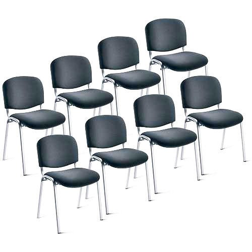 8er Set-Besucherstühle ISO Stoff Anthrazit / Alusilber