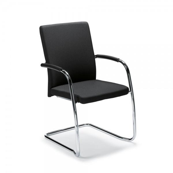 Besucher- und Konferenzstuhl Riva S inkl. Armlehnen Bezug Stoff Deskin 100, schwarz