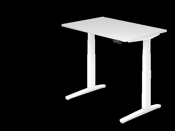 Sitz-Steh-Schreibtisch elektrisch 120 x 80 cm Weiß / Weiß