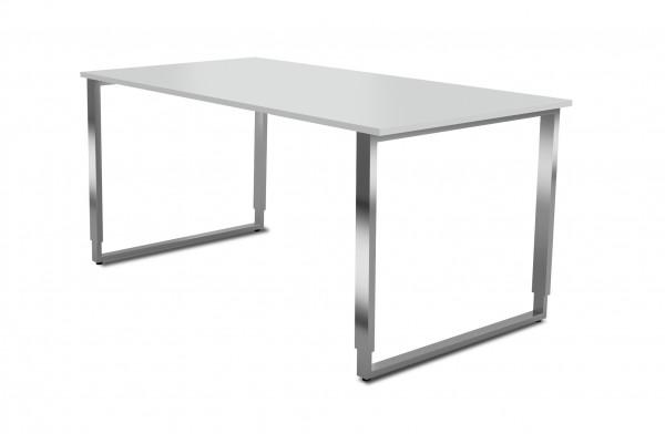 Schreibtisch Aveto, 160x80x68-82 cm, Bügelgestell, Lichtgrau