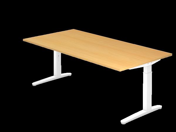 Schreibtisch C-Fuß 200 x 100 cm Buche Weiß