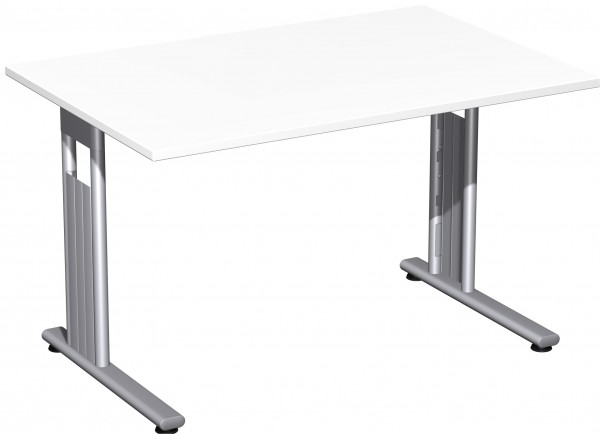 Flex Schreibtisch links oder rechts verkettbar 120 x 80 x 72 cm Weiß / Silber