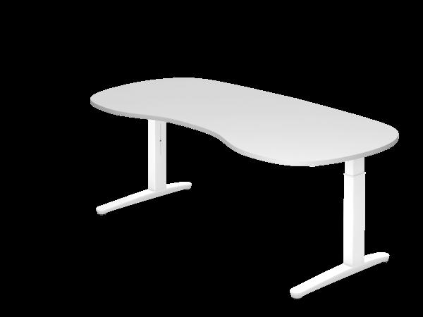Schreibtisch C-Fuß 200 x 100 cm Weiß / Weiß