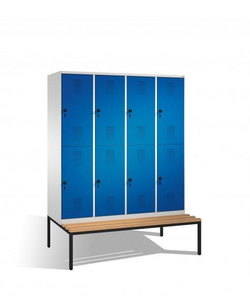 Doppelstockspind Evolo mit Sitzbank, 8 Fächer, 209x160x50/81cm