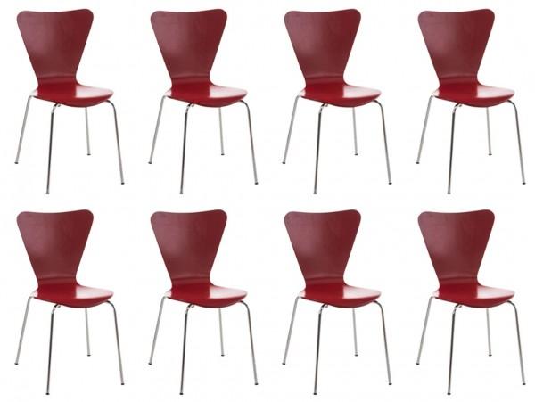 8er Set Besucherstuhl Calisto Rot