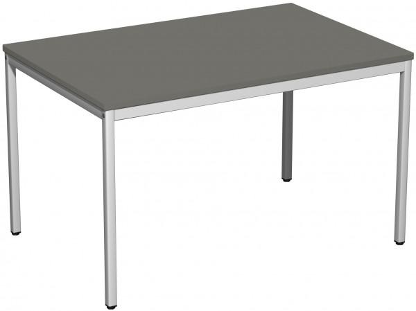 Konferenztisch Viereckfuß, 120x80cm, Graphit / Lichtgrau