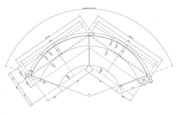 Beratungstheke RUND / Edelstahl / Buche / 437x110x85 cm
