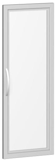 Glastür satiniert im Holzrahmen, für Korpusbreite 400 mm, 3 Ordnerhöhen, Silber