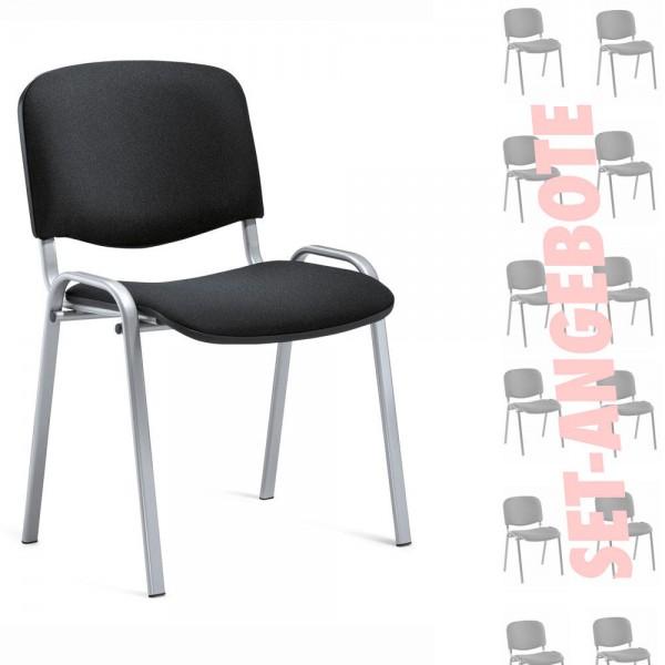 8er Set-Besucherstühle ISO Bezug Stoff Basic, schwarz