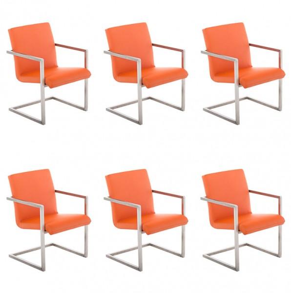 6er Set Besucherstuhl Java, orange