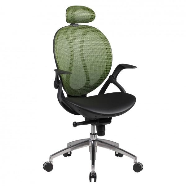 SHAPE 2 Bürostuhl, Schreibtischstuhl mit Kopfstütze, Kunstleder Grün