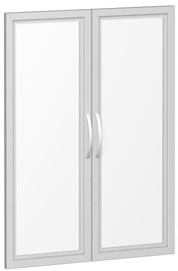 Glastürensatz satiniert im Holzrahmen, für Korpusbreite 80 cm, 3 OH, Silber