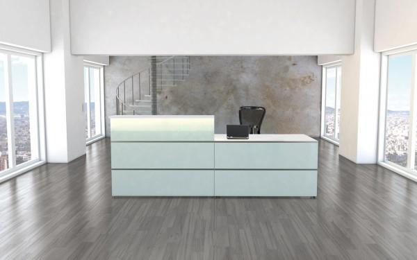 Empfangstheke Winkeltheke Atlantis, 250x250cm, Weiß / Glas