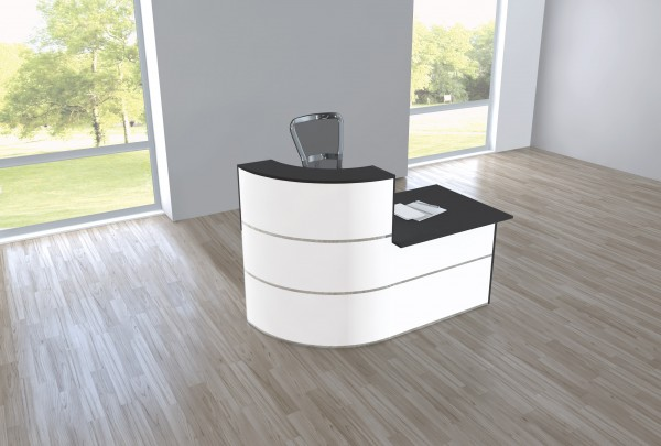Design Empfangstheke Rezeptionstheke Cento 1,8m Weiß Anthrazit