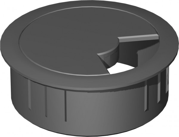 Kabeleinlassbuchse, montiert D: 6cm, Lichtgrau