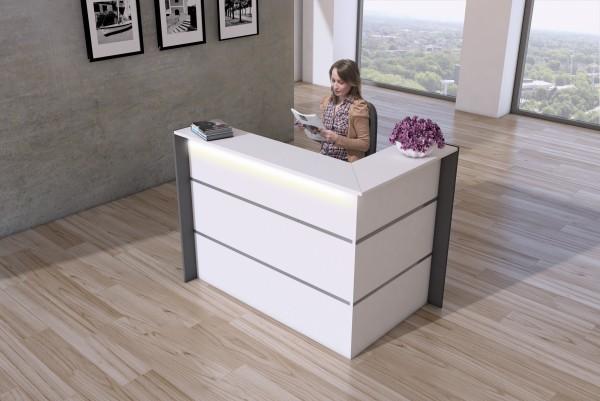 Empfangstheke Ecktheke Bari Weiß ( BxHxT ) 150x108x92cm