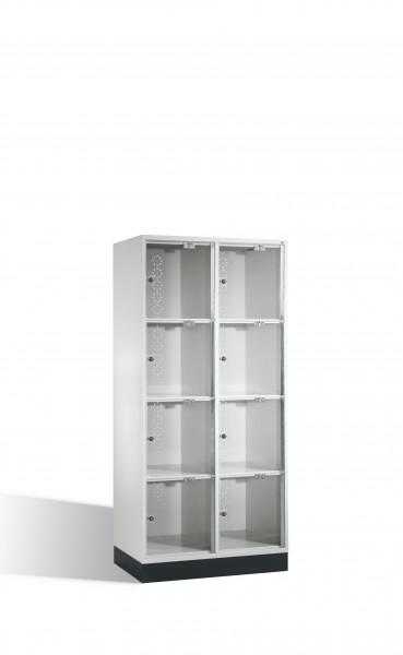 Schließfachschrank Intro XL mit Acrylglastüren, 8 Fächer, 175x82x50cm