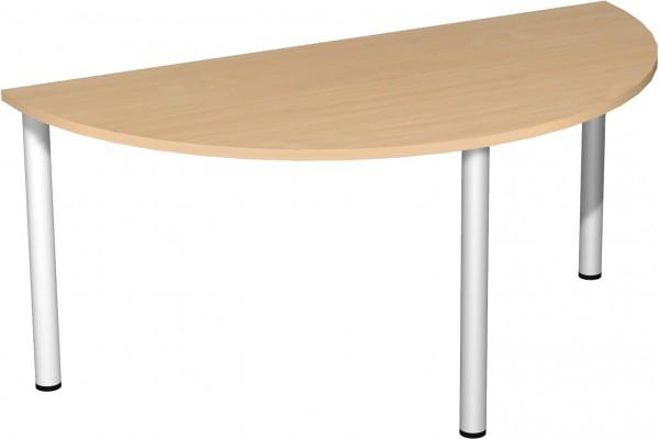 Konferenztisch Rundfuß, Halbkreisform, 160x80cm, Buche / Silber