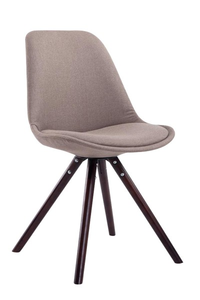 Besucherstuhl Toulouse Stoff Cappuccino Rund, taupe