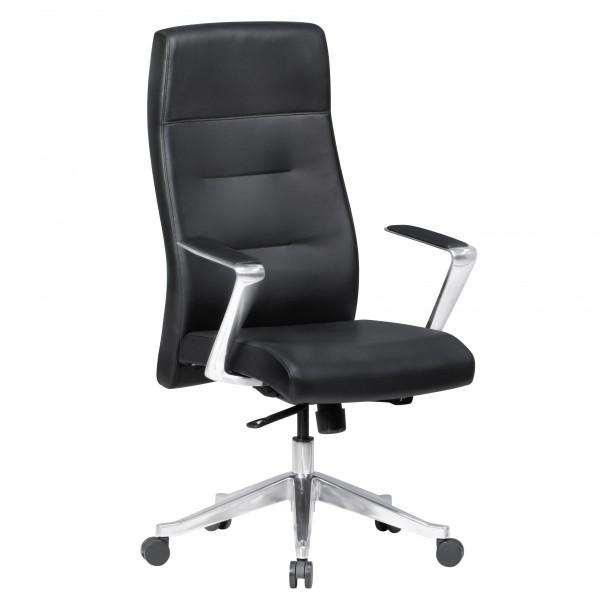 BELFORT Bürostuhl Schreibtischstuhl, mit Kopfstütze, Echtleder Schwarz