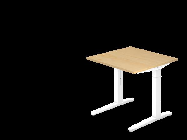 Schreibtisch C-Fuß 80 x 80 cm Ahorn / Weiß