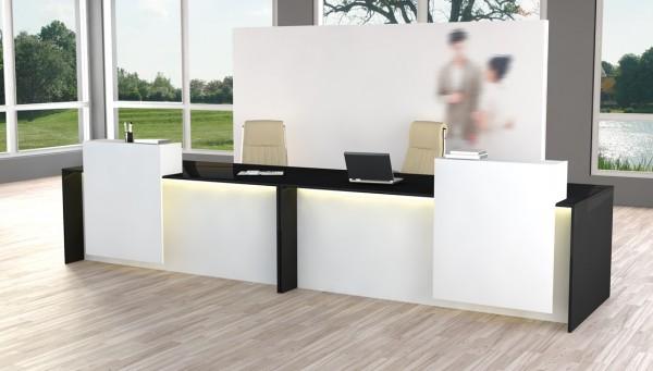 Design-Theke Rezeption Palermo, Weiß Anthrazit + Rollcontainer