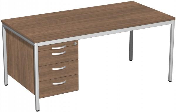 Schreibtisch mit Hängecontainer, 160x80cm, Nussbaum / Lichtgrau